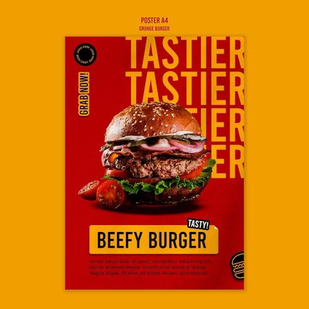 Шаблон плаката гамбургер гранж Бесплатные Psd