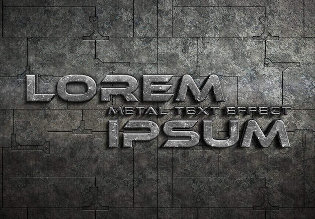Grunge metal text effect mockup Premium Psd