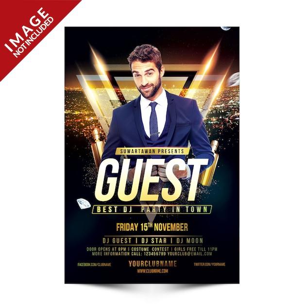Guest dj party flyer Premium Psd