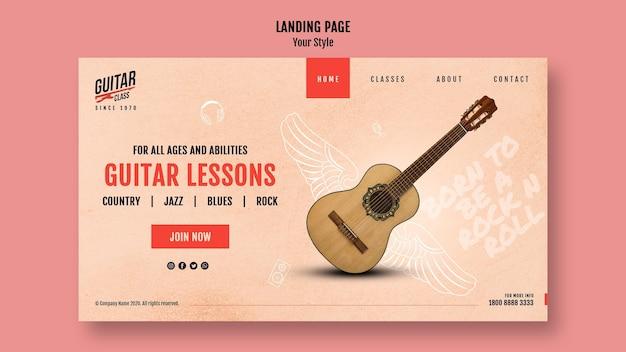Modello di pagina di destinazione delle lezioni di chitarra Psd Gratuite