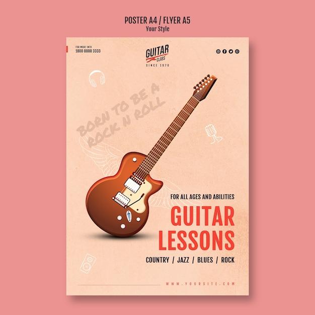 Modello di poster di lezioni di chitarra Psd Gratuite