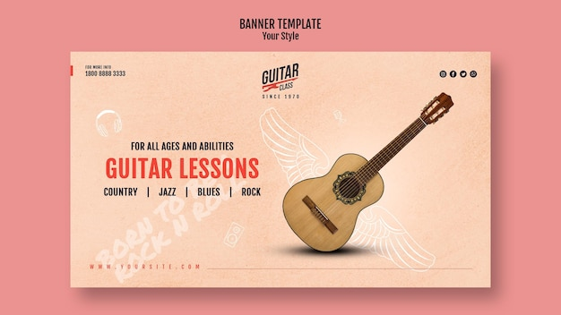 Banner modello lezioni di chitarra Psd Gratuite