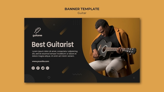 Guitar Player Banner Template Design Free Psd File