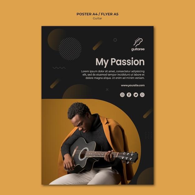 Дизайн флаера для гитариста Бесплатные Psd