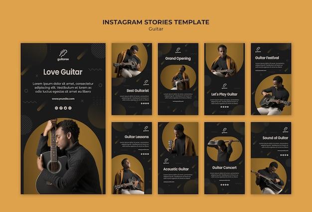 Guitar player instagram stories Free Psd