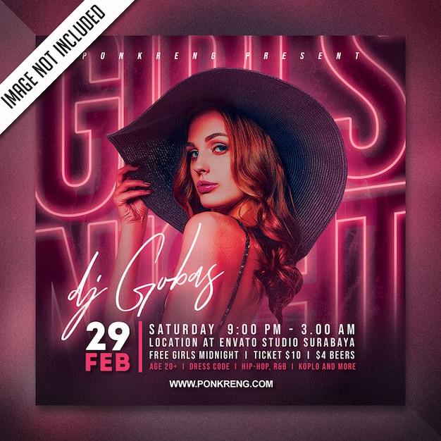 Gurls night party flyer template Premium Psd