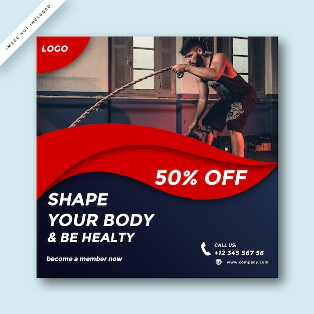 Современный дизайн рекламы в социальных сетях gym and fitness Premium Psd