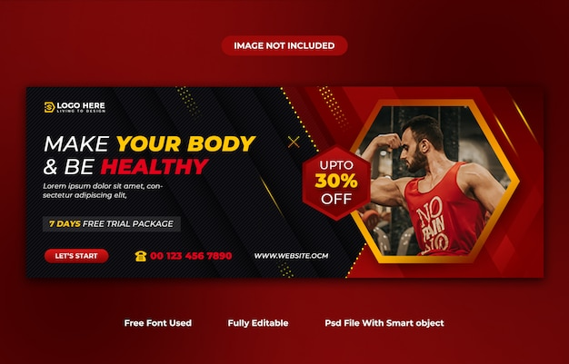 Gym and fitness social media post and facebook cover template