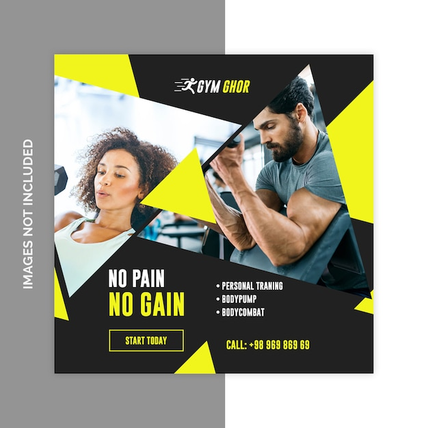 Gym fitness social media web banners psd template Premium Psd