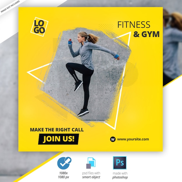 Gym fitness social media web banners Premium Psd