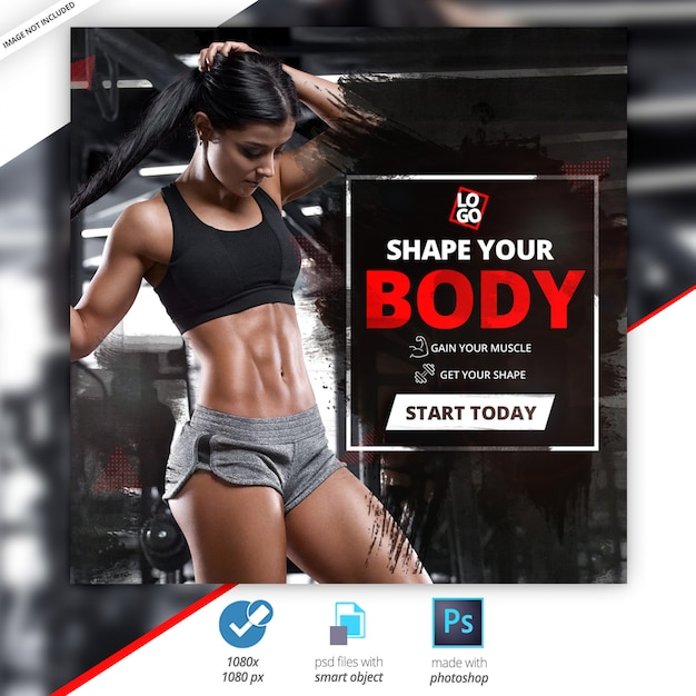 Gym fitness social media web banners Premium Psd
