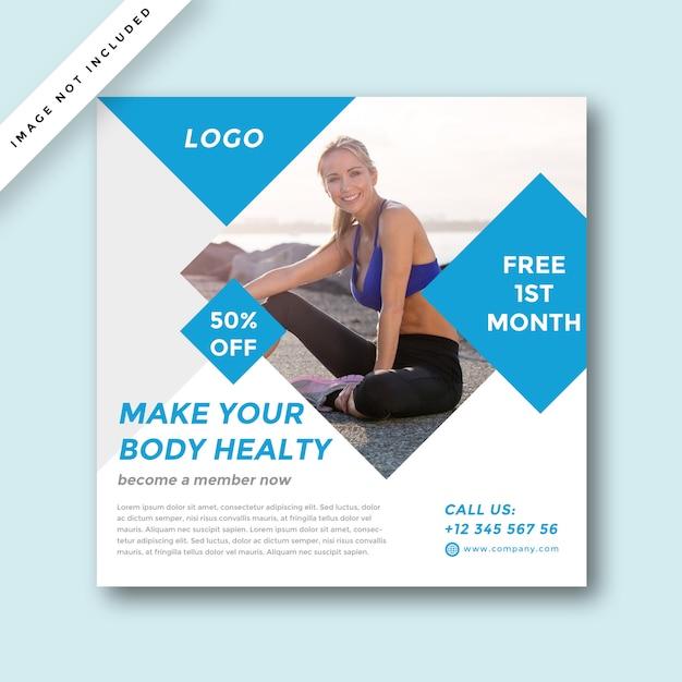 Современный дизайн рекламы в социальных сетях gym & fitness Premium Psd