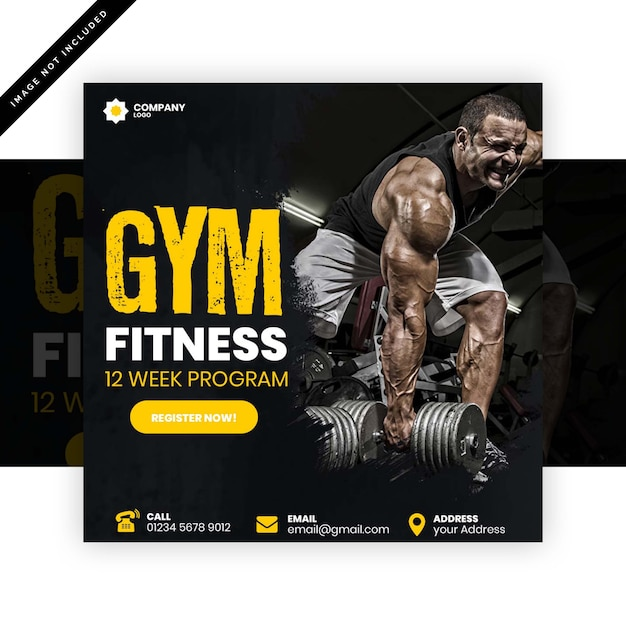 Gym instagram post or square flyer Premium Psd