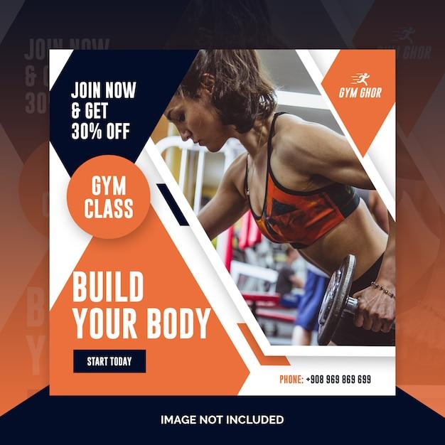 Gym member advertise social media post template Premium Psd