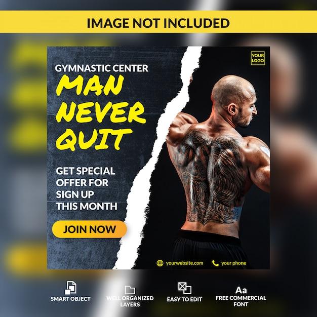 Gym member open member registration offer social media post template banner Premium Psd