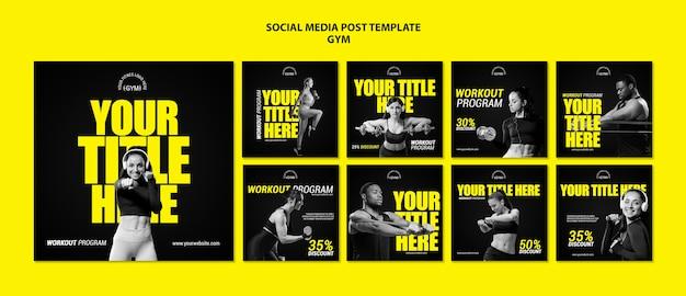 Gym social media post template Free Psd
