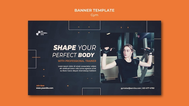 Gym template design for banner theme Free Psd