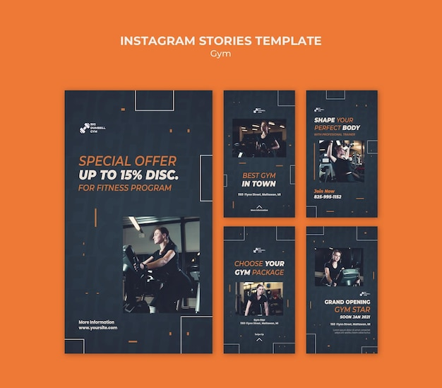 Instagram истории дизайна шаблона тренажерного зала Premium Psd