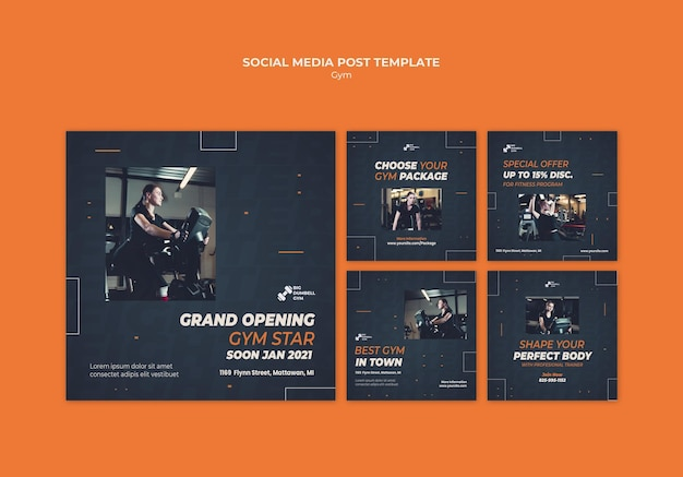 Gym template design social media post Free Psd
