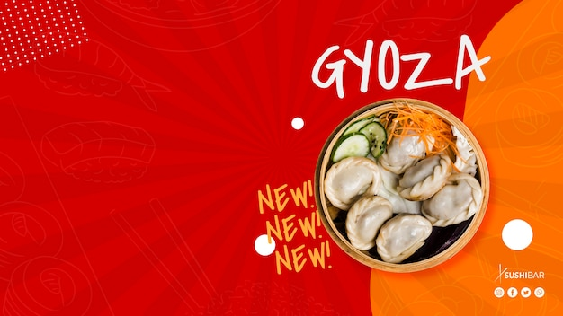 Gyoza or jiaozi recipe with copyspace for asian japanese restaurant or sushibar Free Psd