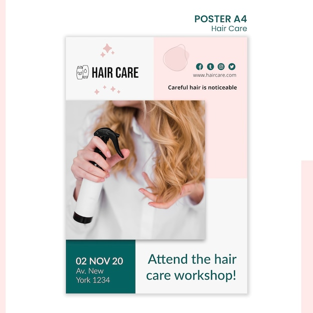 Шаблон плаката с советом по уходу за волосами Бесплатные Psd