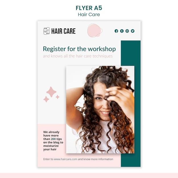 Шаблон флаера по уходу за волосами Бесплатные Psd