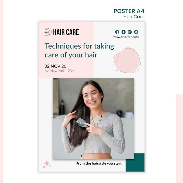 Плакат о методах ухода за волосами в стиле шаблона Бесплатные Psd