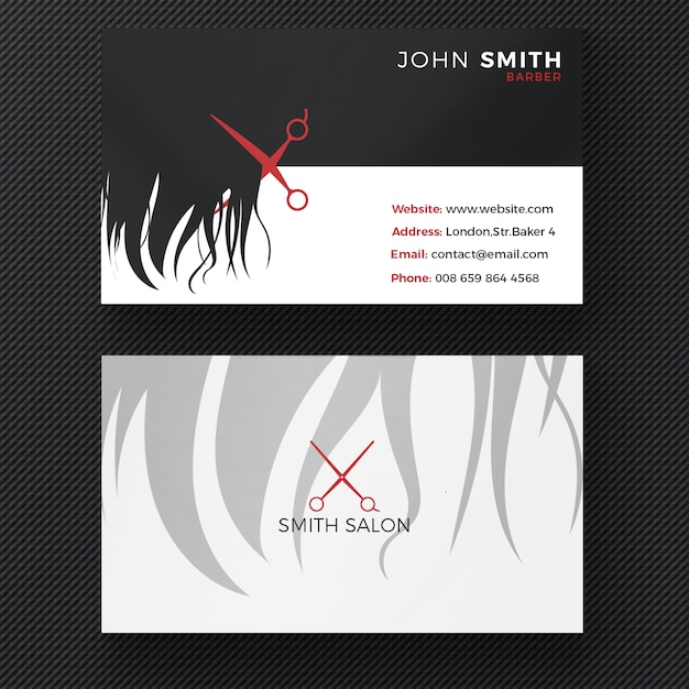 Hair salon business card PSD file