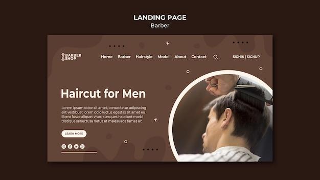 理髪店のランディングページで男性クライアントの散髪 無料 Psd