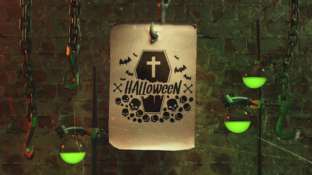 Halloween arrangement with paper on hook and light Free Psd