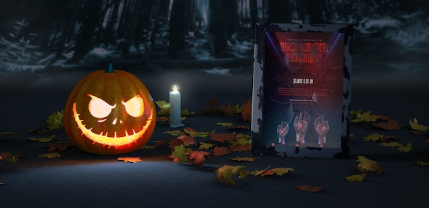 Halloween arrangement with pumpkin and frame mock-up Free Psd