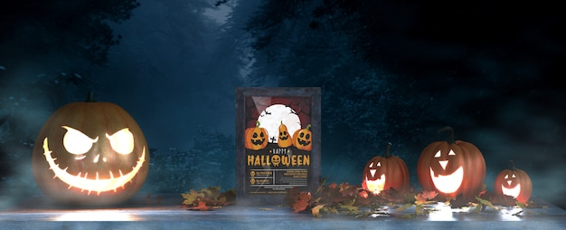 Halloween arrangement with scary pumpkins and frame mock-up Free Psd