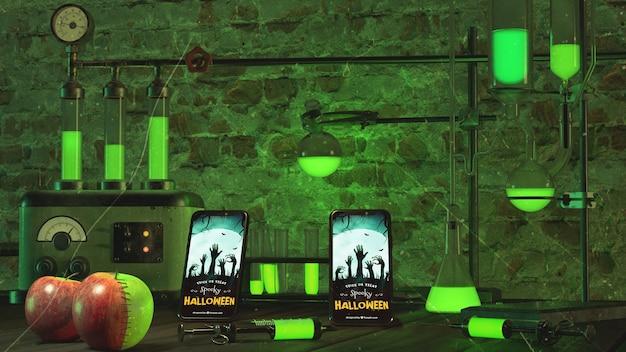 Halloween arrangement with smartphone and neon lights Free Psd