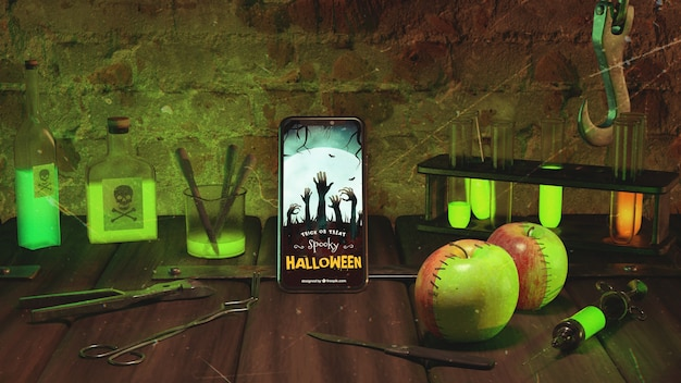 Halloween arrangement with smartphone Free Psd