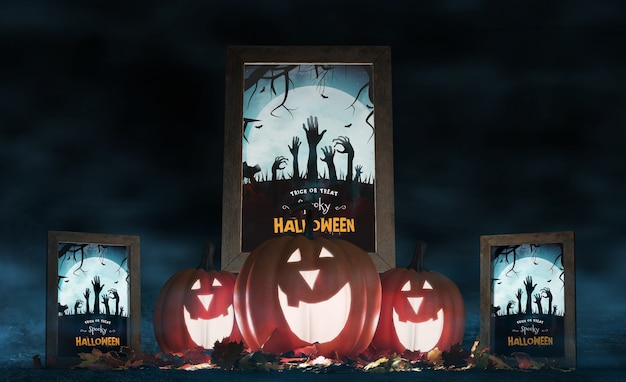 Halloween arrangement with smiley pumpkins and movie posters Free Psd