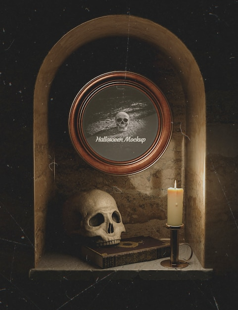 Halloween black decoration with skulls and candles Free Psd