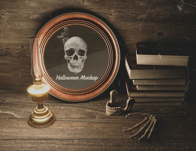 Halloween black horror mock-up with skulls Free Psd