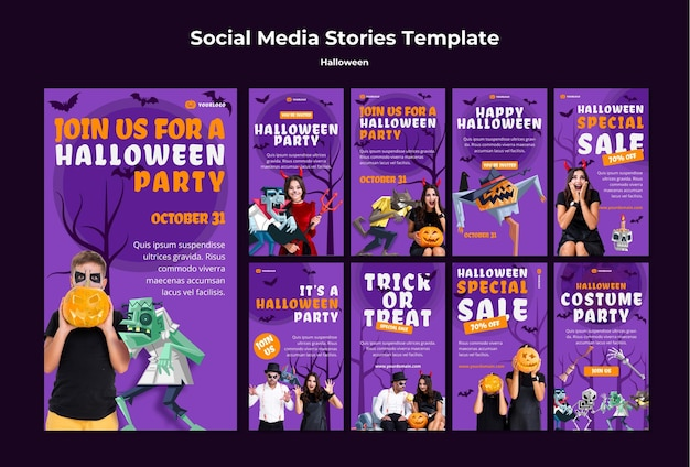 Halloween concept social media stories template Premium Psd