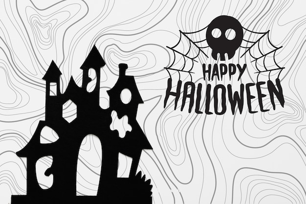 Halloween concept with castle silhouette Free Psd