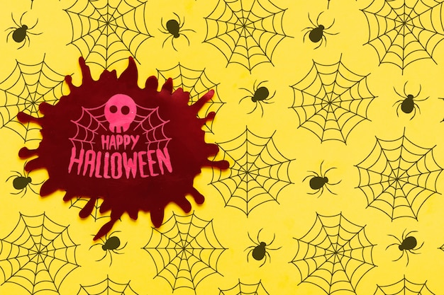 Halloween concept with skull and spiderweb Free Psd