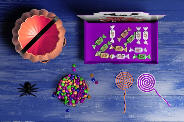 Halloween concept on wooden background Free Psd