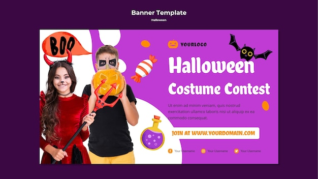 Halloween costume contest banner template Free Psd