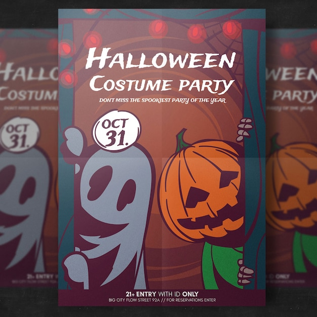 Halloween costume party flyer template Free Psd