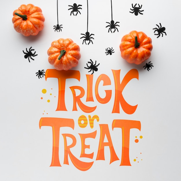 Halloween day with trick or treat message Free Psd