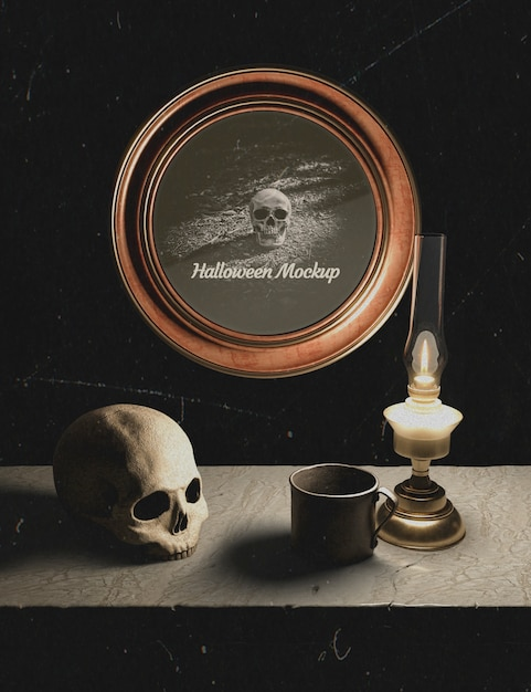 Halloween decoration and round frame with skull Free Psd