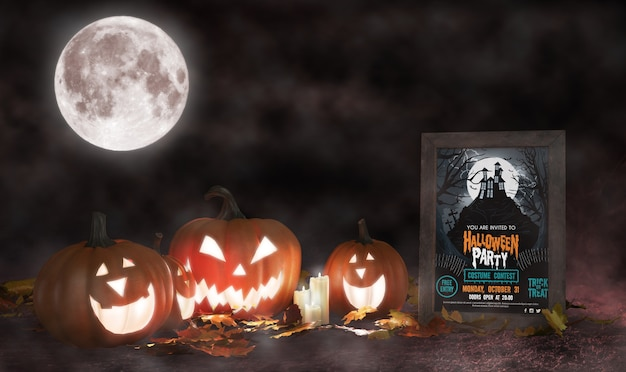 Halloween decoration with framed horror movie poster Free Psd