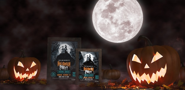 Halloween decoration with framed horror movie posters Free Psd