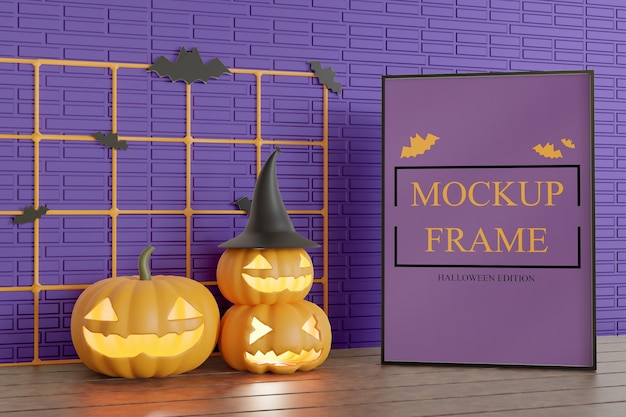 Halloween edition frame mockup on the table Premium Psd