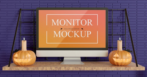 Halloween edition screen display monitor mockup Premium Psd