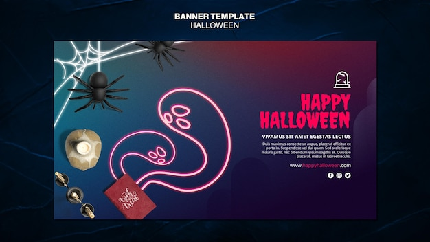 Halloween event ad banner template Free Psd